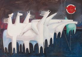 Fig. 1 Kadhim Hayder, Fatigued Ten Horses Converse with Nothing (The Martyr's Epic), Oil on canvas 91 x 127 cm, 1965. Barjeel Art Foundation, Sharjah.