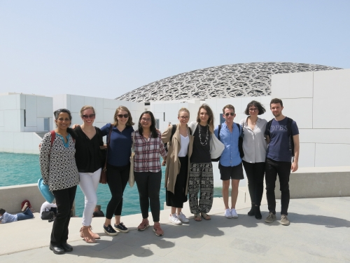 Professor Rizvi (on left) with seminar participants: Katherine Werwie, Chelsea Connelly, Yagnaseni Datta, Soffia Gunnarsdottir, Stéphanie Machabee, Doyle Calhoun, Maia Simon, Andrés Bustamante.