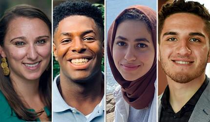 From left: Elizabeth Nugent, Nick Wade '21, Sarah Kammourh '22, and Marwan Safar Jalani '20
