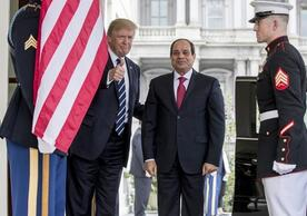 """President Trump in April 2017 with Egyptian President Abdel Fattah Sisi, whom he called his """"favorite dictator."""" (Andrew Harnik / Associated Press)"""