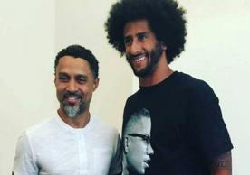 Mahmoud Abdul-Rauf is pictured here on left with Colin Kaepernick.